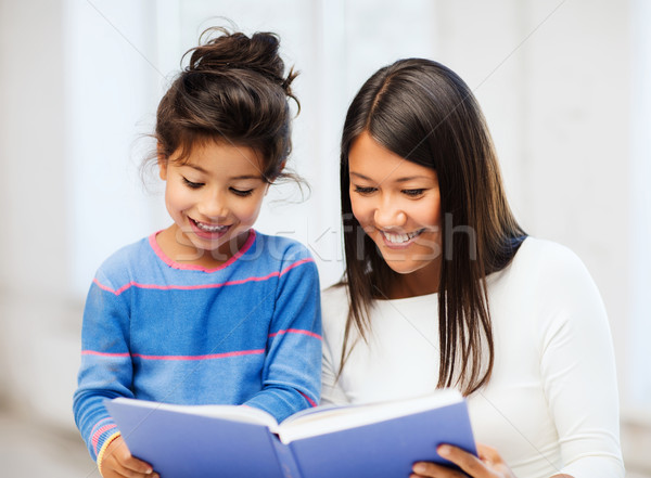 mother and daughter with book Stock photo © dolgachov