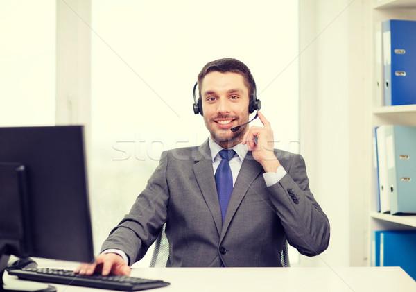 Línea de ayuda operador auriculares ordenador negocios comunicación Foto stock © dolgachov
