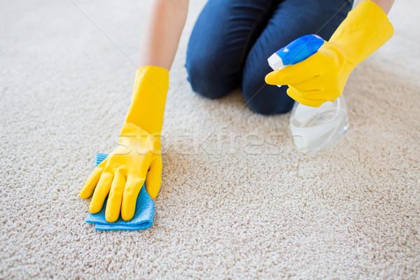Vrouw doek schoonmaken tapijt mensen Stockfoto © dolgachov