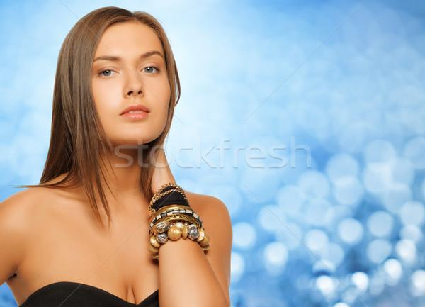 Mooie vrouw Blauw lichten schoonheid luxe mensen Stockfoto © dolgachov
