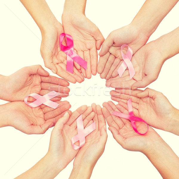close up of hands with cancer awareness symbol Stock photo © dolgachov