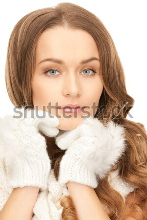 Foto stock: Mulher · gelo · brilhante · quadro · cara
