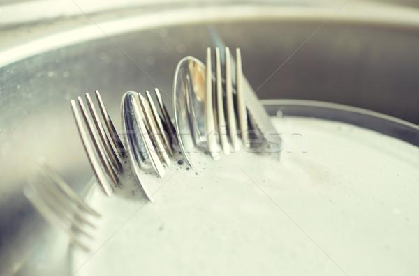 Sporca piatti lavaggio lavori di casa Foto d'archivio © dolgachov