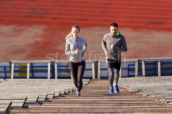 пару работает наверх стадион фитнес спорт Сток-фото © dolgachov