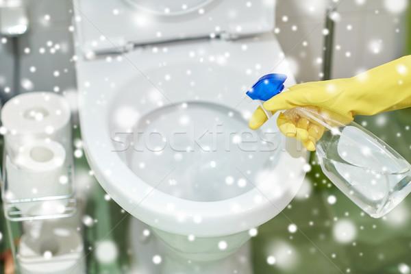 Mão detergente limpeza banheiro pessoas Foto stock © dolgachov