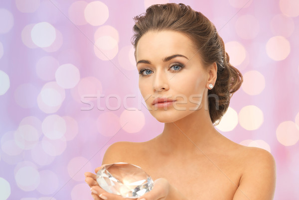 Photo stock: Femme · grand · diamant · rose · lumières