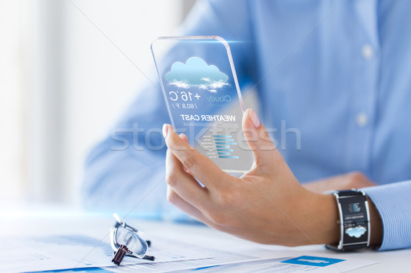 close up of woman with weather app on smartphone Stock photo © dolgachov
