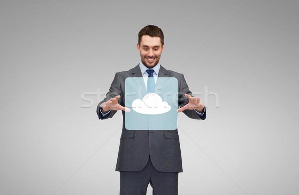 Biznesmen pracy chmura icon projekcja działalności technologii Zdjęcia stock © dolgachov