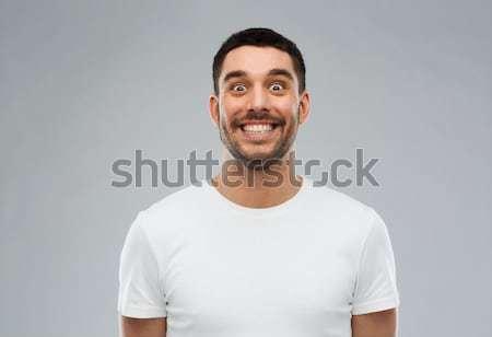 Uomo faccia buffa grigio persone faccia moda Foto d'archivio © dolgachov