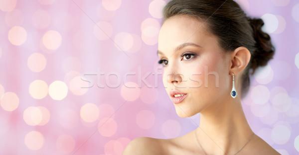 Photo stock: Belle · femme · visage · boucle · beauté · bijoux