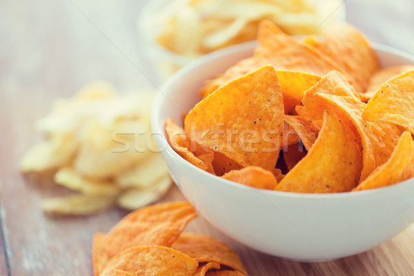 close up of corn crisps or nachos in bowl Stock photo © dolgachov