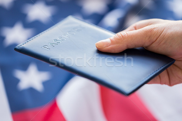 close up of hand with american passport Stock photo © dolgachov