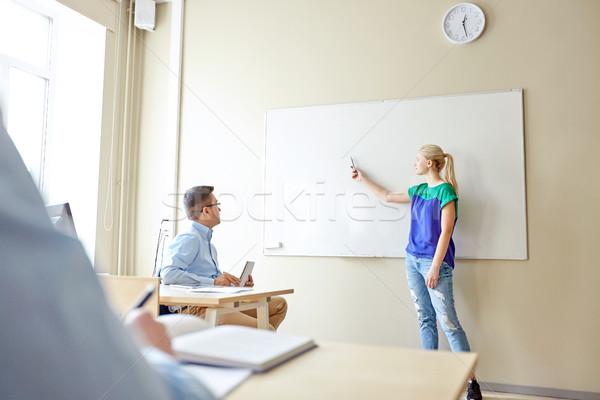 Diák lány iskola fehér tábla tanár oktatás Stock fotó © dolgachov