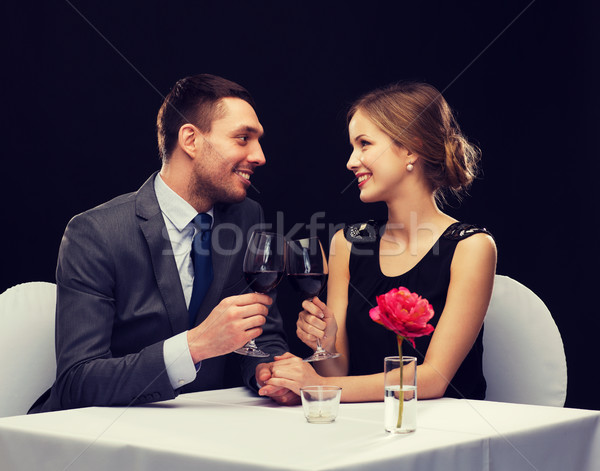 Photo stock: Verres · vin · restaurant · couple · vacances