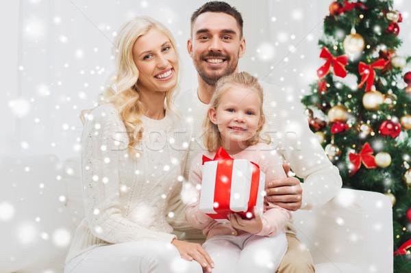 幸せな家族 ホーム クリスマス ギフトボックス 家族 休日 ストックフォト © dolgachov