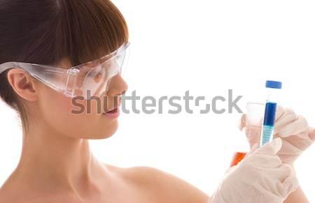 Heureux femme réalité casque verres Photo stock © dolgachov
