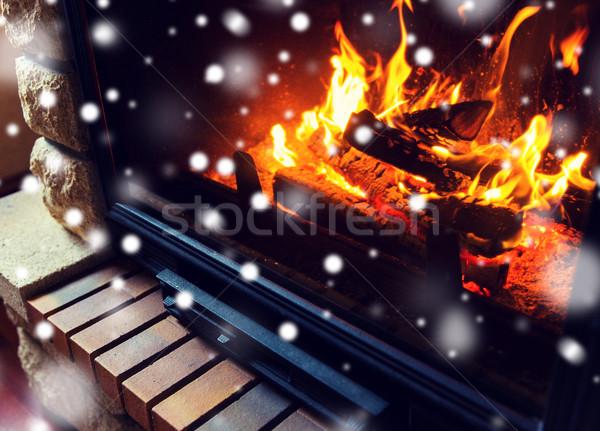 Stok fotoğraf: Yanan · şömine · kar · kış · Noel