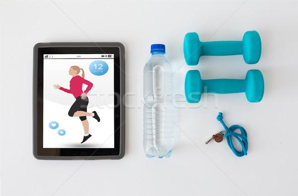 Halteres assobiar garrafa de água esportes Foto stock © dolgachov
