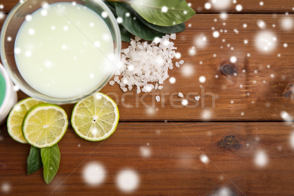citrus body lotion in bowl on wood Stock photo © dolgachov