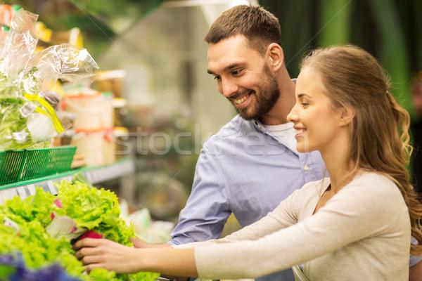 Stok fotoğraf: Mutlu · çift · satın · alma · marul · bakkal · alışveriş