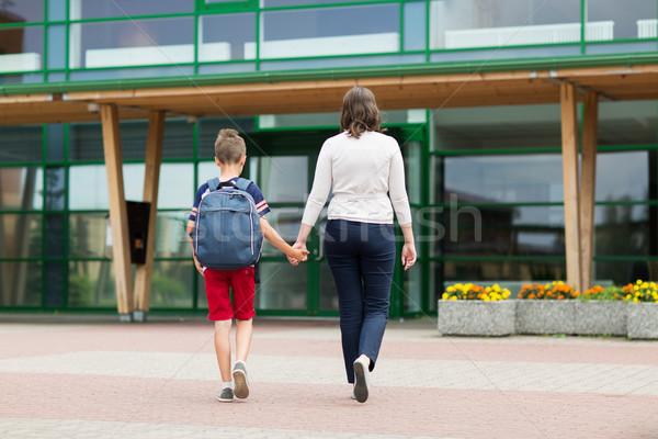 Elemental estudiante nino madre escuela educación Foto stock © dolgachov