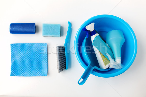 basin with cleaning stuff on white background Stock photo © dolgachov