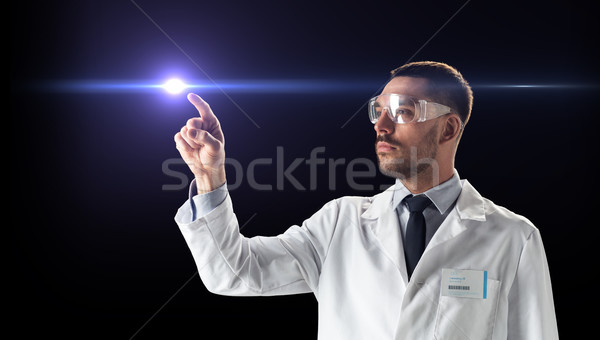 Lekarza naukowiec okulary ochronne laserowe nauki przyszłości Zdjęcia stock © dolgachov