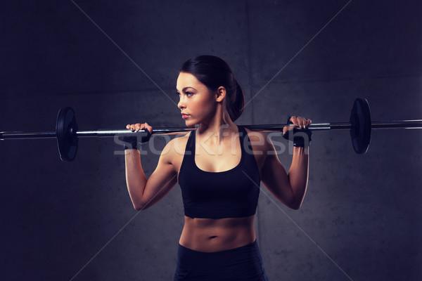 мышцы штанга спортзал спорт фитнес Сток-фото © dolgachov