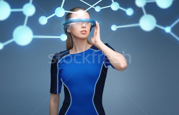 Nő virtuális valóság 3d szemüveg molekulák tudomány Stock fotó © dolgachov