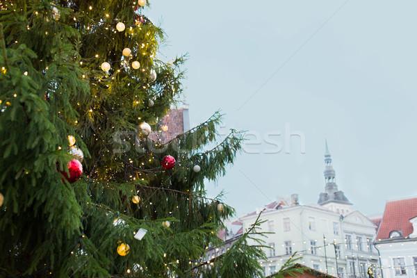 Albero di natale città vecchia Tallinn vacanze decorazione Foto d'archivio © dolgachov