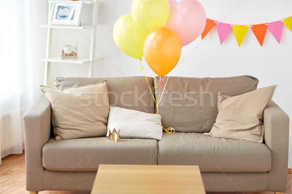 Stock photo: sofa at home room decorated for birthday party