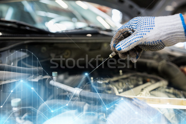 mechanic with dipstick checking motor oil level Stock photo © dolgachov