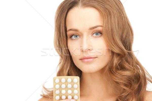 Foto stock: Jovem · bela · mulher · pílulas · quadro · mulher · médico