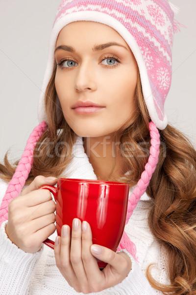 Donna rosso mug foto bella donna bellezza Foto d'archivio © dolgachov