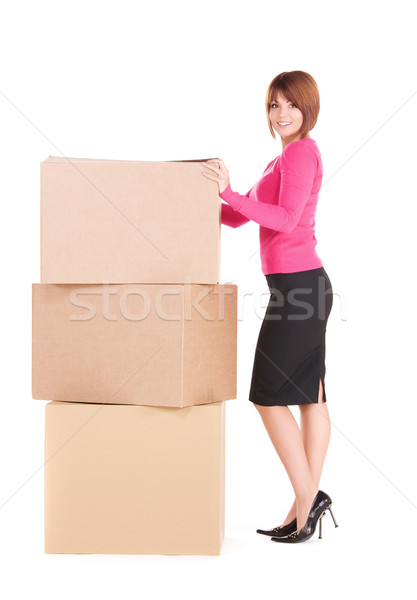 Stock photo: businesswoman with boxes
