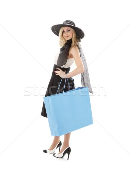 ретро Hat синий корзина элегантный Сток-фото © dolgachov