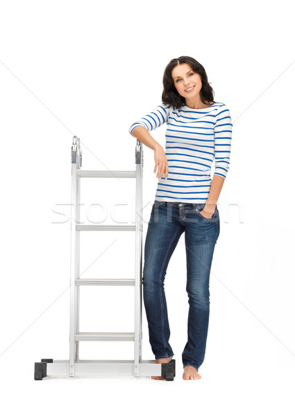 красивая женщина лестнице ярко фотография женщину молодые Сток-фото © dolgachov
