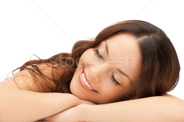 Alszik nő otthon kép boldog szemek Stock fotó © dolgachov