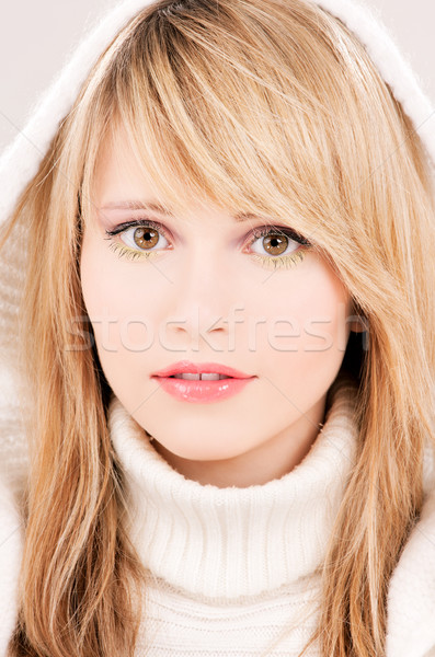 lovely teenage girl in hoodie Stock photo © dolgachov