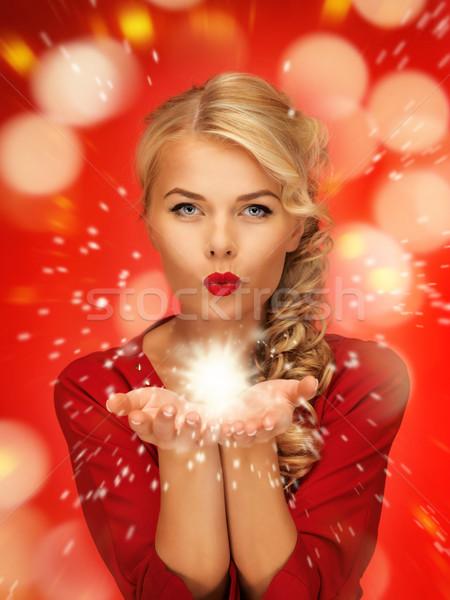 Stok fotoğraf: Kadın · büyü · avuç · içi · eller · kırmızı · elbise