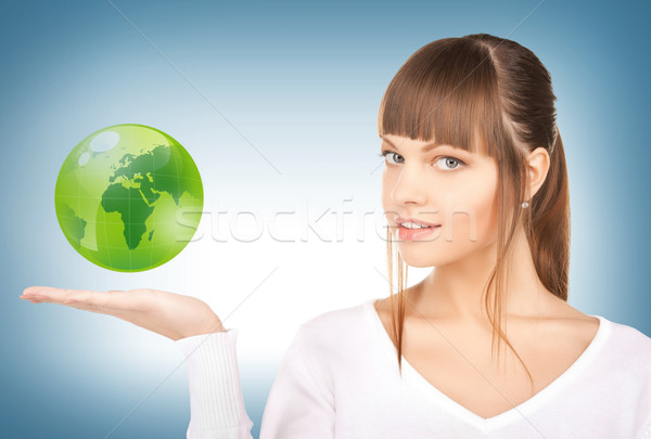 Femme vert monde main photos Photo stock © dolgachov