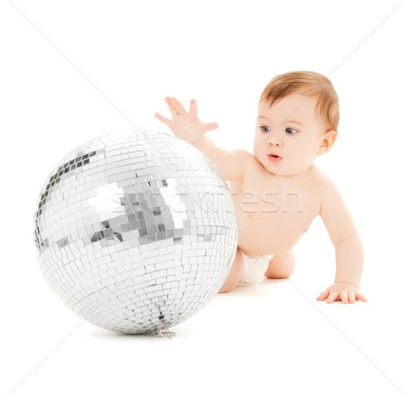 Kind spelen disco ball heldere foto gelukkig Stockfoto © dolgachov