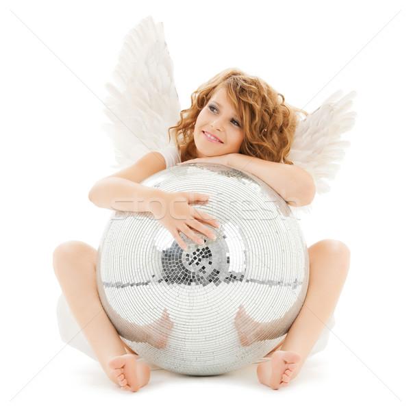 Szczęśliwy anioł dziewczyna disco ball wakacje Zdjęcia stock © dolgachov