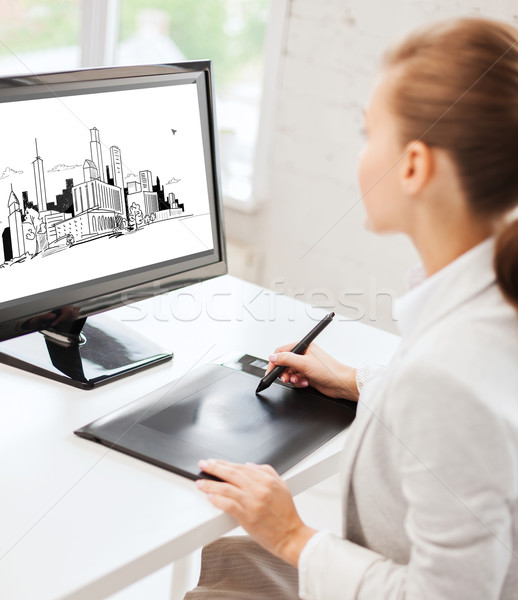 architect with drawing tablet in office Stock photo © dolgachov