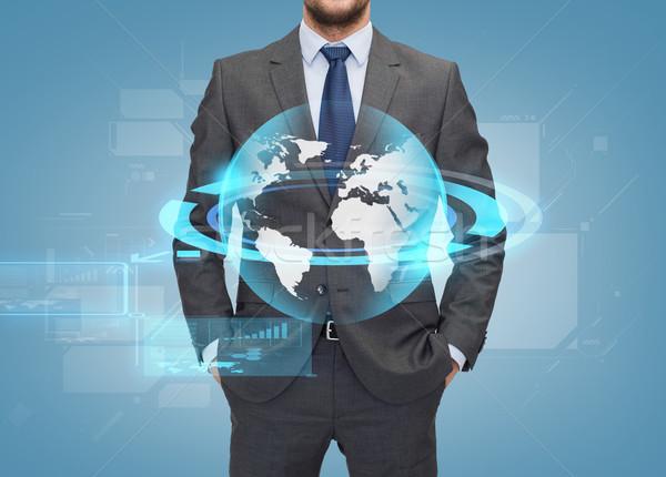Stock fotó: Közelkép · üzletember · kék · üzletemberek · globális · kapcsolat