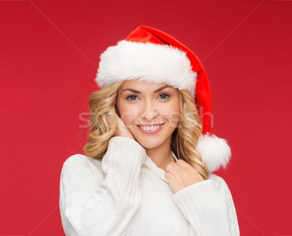 Glimlachende vrouw helper hoed christmas kerstmis Stockfoto © dolgachov