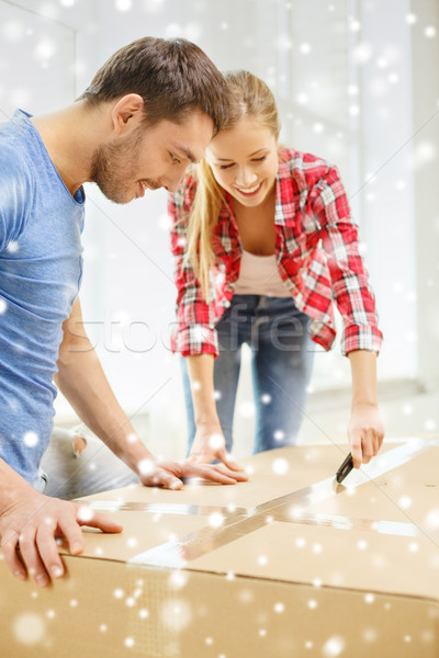 smiling couple opening big cardboard box Stock photo © dolgachov