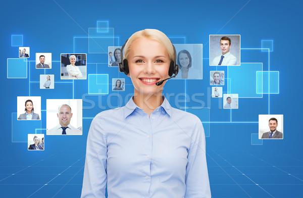 счастливым женщины телефон доверия оператор наушники бизнеса Сток-фото © dolgachov