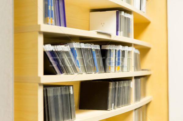 shelving with cd records at radio station Stock photo © dolgachov