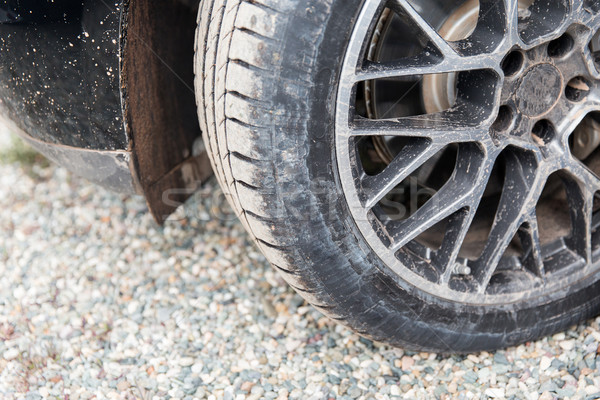 close up of dirty car wheel on ground Stock photo © dolgachov